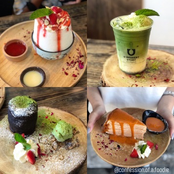 Strawberry Cheesecake Yogurt Kakigori, Matcha Float, Chocolate Matcha Lava, Thai Tea Crepe Cake
