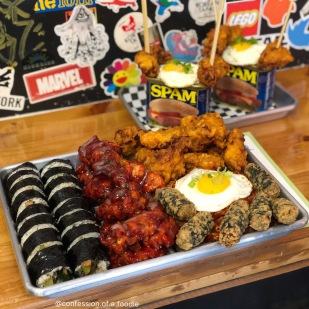 Combo B (10pc KFC, 10pc gangjung, bulgogi kimbap, spicy pork stir-fry ramen), Fried Seaweed Rolls, Spam Kimchi Fried Rice